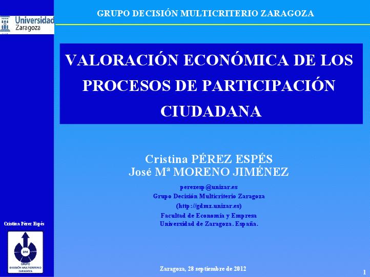 Charla: Valoración económica de los procesos de participación ciudadana
